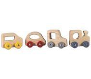Miniautos aus Holz, 4er-Set