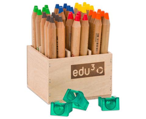 36 Buntstifte im Holzaufsteller mit Spitzer