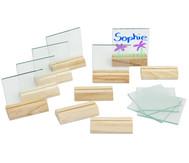 Glasplatten und Halter, 10 Stück