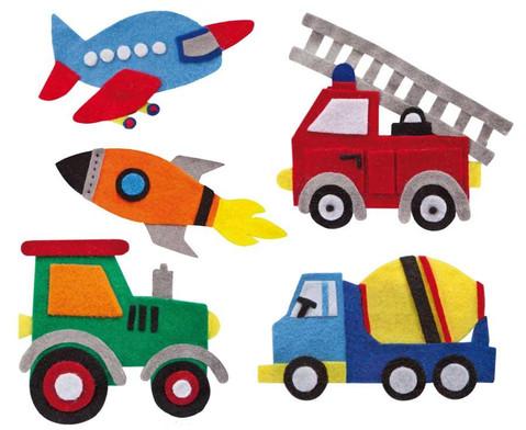 Filzbuttons-Set Fahrzeuge