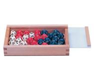 32 Zwölfflächige Schulwürfel weiss / rot / blau