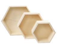 Holzbox Wabe, 3er Set