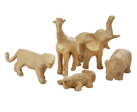 Pappmach Tierset mit 5 Tierfiguren