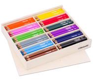 144 Dreikant-Stifte in Holzbox mit Deckel