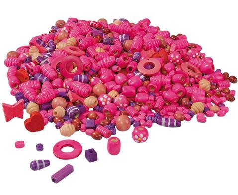 Holzfaedelperlen pink-lila 250 g