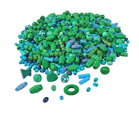 Holzfaedelperlen blau-gruen 250 g