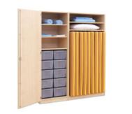 Flexeo Schrank, 10 grosse Boxen, 2 Schranktüren, für Liegepolster 140 cm, Breite 159 cm