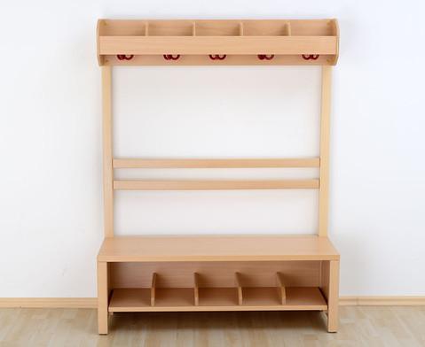 Garderobenbank Schuhgestell aus Holz fuer 4 Kinder