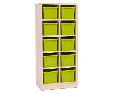 Garderoben-Fachregale CHIPPO mit gruenen Boxen-4