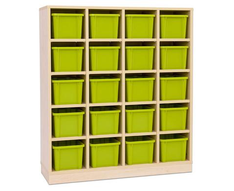 Garderoben-Fachregale CHIPPO mit gruenen Boxen-5