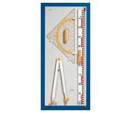 Geräteplatte II mit Zirkel, Geodreieck 60 cm,