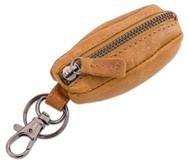 Schlüsselanhänger mit Münztasche, Echtleder