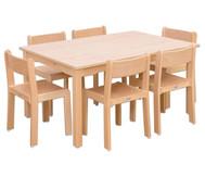 Möbel-Set Ortho Sitzhöhe 42 cm, Tischhöhe 70 cm, Ahorn