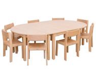 Möbel-Set Karima, Sitzhöhe 30 cm Tischhöhe 52 cm, Ahorn