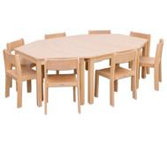 Möbel-Set Batur, Sitzhöhe 34 cm, Tischhöhe 58 cm, Ahorn