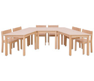 Möbel-Set Padma, Sitzhöhe 30 cm, Tischhöhe 52 cm, Ahorn