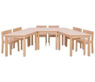 Möbel-Set Padma, Sitzhöhe 42 cm, Tischhöhe 70 cm, Ahorn