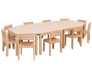 Möbel-Set Kusuma, Sitzhöhe 30 cm, Tischhöhe 52 cm, Ahorn