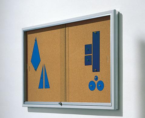 Info-Vitrine 100 cm breit Stahlrahmen Kork