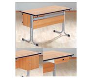 Lehrertisch mit T-Fuss, Blende & PU-Kante