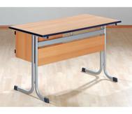 Lehrertisch mit T-Fuss, Blende, abschliessbarem Fach & PU-Kante