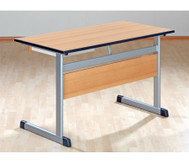 Lehrertisch mit L-Fuss, Blende, abschliessbarer Schublade & PU-Kante