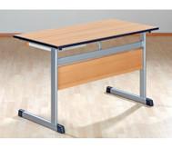 Lehrertisch: L-Fuss, Blende, abschliessbares Fach & PU-Kante