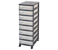 IRIS Schubladenbox mit Rollen, schwarz / transparent (8 kleine Schubladen)