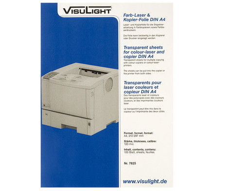 Visulight Farb-Laser- und Kopier-Folie - DIN A4