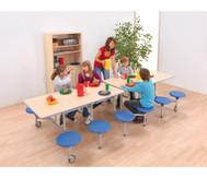 12er-Tisch-Sitz-Kombination rechteckig, Sitzhöhe 43,5 cm