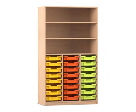Flexeo Hochregal mit 24 kleinen Gratnells-Boxen