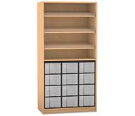 Flexeo Regal, 3 Schrägablagen, 1 Ablageboden 12 grosse Boxen