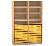 Flexeo Regal mit 6 Schrägablagen und 32 kleinen Boxen