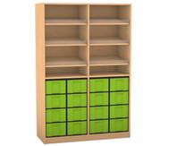 Flexeo Regal, 6 Schrägablagen, 2 Ablageböden 16 grosse Boxen