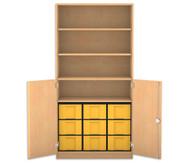 Flexeo Halbtürenschrank, 2 Drehtüren, 4 Fachböden 9 grosse Boxen