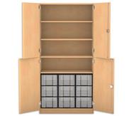 Flexeo Halbtürenschrank, 4 Drehtüren, 4 Fachböden 9 grosse Boxen