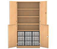 Flexeo Halbtürenschrank, 4 Drehtüren, 4 Fachböden 9 grosse Boxen, HxBxT: 190 x 94,4 cm