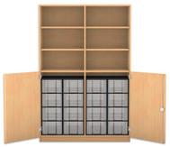 Flexeo Halbtürenschrank, 2 Drehtüren, 6 Fachböden mit Mittelwand, 16 grosse  Boxen