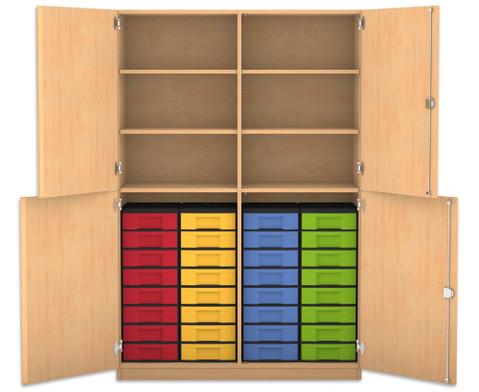 Flexeo Halbtuerenschrank mit 32 kleinen Boxen und 4 Halbtueren-1