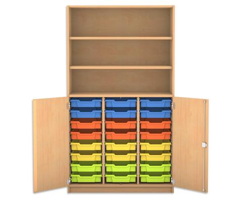 Flexeo Halbtuerenschrank mit 24 Gratnells-Boxen und 2 Halbtueren-1