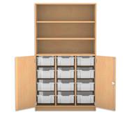 Flexeo Halbtürenschrank mit 12 grossen Boxen, oben 2 Fachböden, 2 Türen