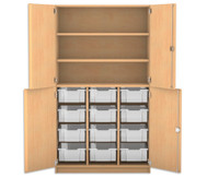 Flexeo Halbtürenschrank mit 12 grossen Boxen, oben 2 Fachböden, 4 Türen
