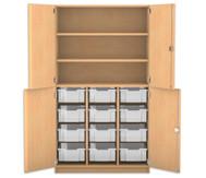Flexeo Halbtürenschrank mit 12 grossen Boxen, oben 2 Fachböden, 4 Türen, HxB: 190 x 108,1 cm