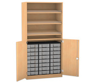 Flexeo Schrank mit 3 Schrägablagen, 24 kleinen Boxen und 2 Halbtüren
