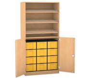 Flexeo Schrank, 3 Schrägablagen, 1 Ablageboden 12 grosse Boxen, 2 Drehtrüren, HxB: 190 x 94,4 cm