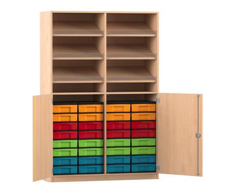 Flexeo Schrank mit 6 Schraegablagen 32 kleinen Boxen und 2 Halbtueren
