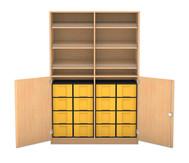 Flexeo Schrank, 6 Schrägablagen, 2 Ablageböden 16 grosse Boxen, 2 Drehtüren