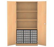 Flexeo Hochschrank mit 3 großen Fächern, 18 kleinen Boxen und Türen