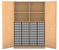 Flexeo Hochschrank mit 4 Fächern, 40 kleinen Boxen und Türen