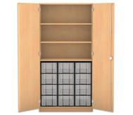 Flexeo Hochschrank mit Drehtüren, 3 Fachböden 12 grosse Boxen